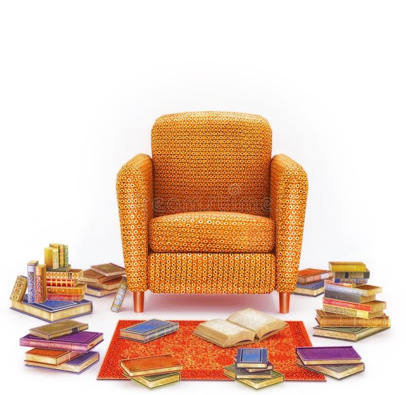 Уютный элегантный интерьер живущей комнаты с креслом, ковром и много книг иллюстрация вектора