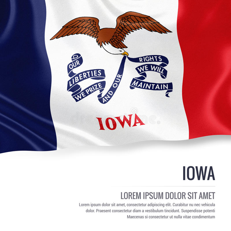 дуя ветер флага s u S положение Айова развевая на белой предпосылке иллюстрация вектора