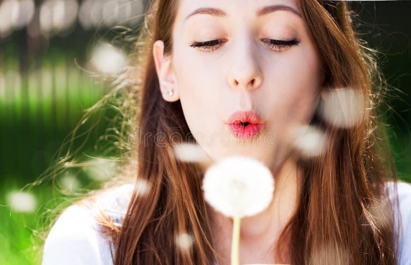 Download дуя семена девушки одуванчика Стоковое Изображение - изображение насчитывающей наслаждение, одуванчик: 41663365