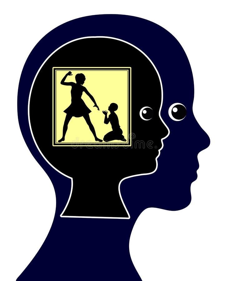 Удар физического насилия над ребенком иллюстрация штока