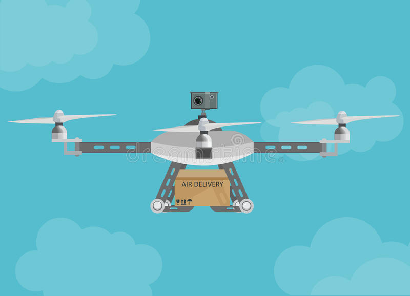 Удаленный трутень поставки воздуха с летанием пакета коробки в небе иллюстрация вектора
