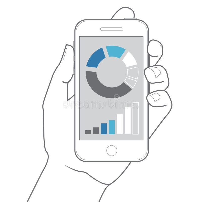 удерживание руки банка предпосылки замечает smartphone Дизайн вектора плоский иллюстрация вектора