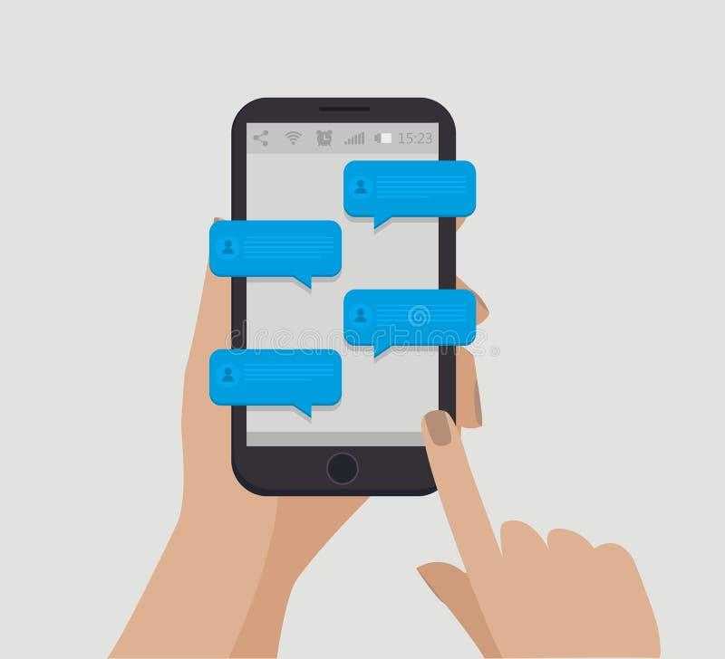 удерживание руки банка предпосылки замечает smartphone Концепция Chating Онлайн сообщение также вектор иллюстрации притяжки corel иллюстрация штока
