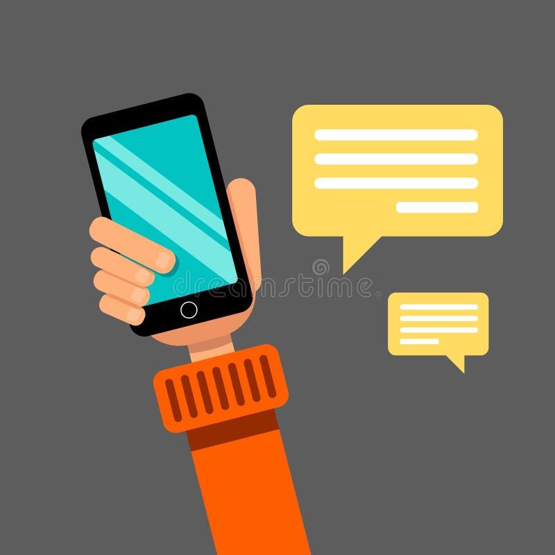 удерживание руки банка предпосылки замечает smartphone Сообщение через социальные сети и вебсайты просматривать иллюстрация штока