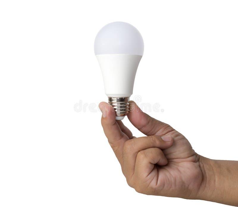 Удерживание руки привело электрическую лампочку стоковые фотографии rf