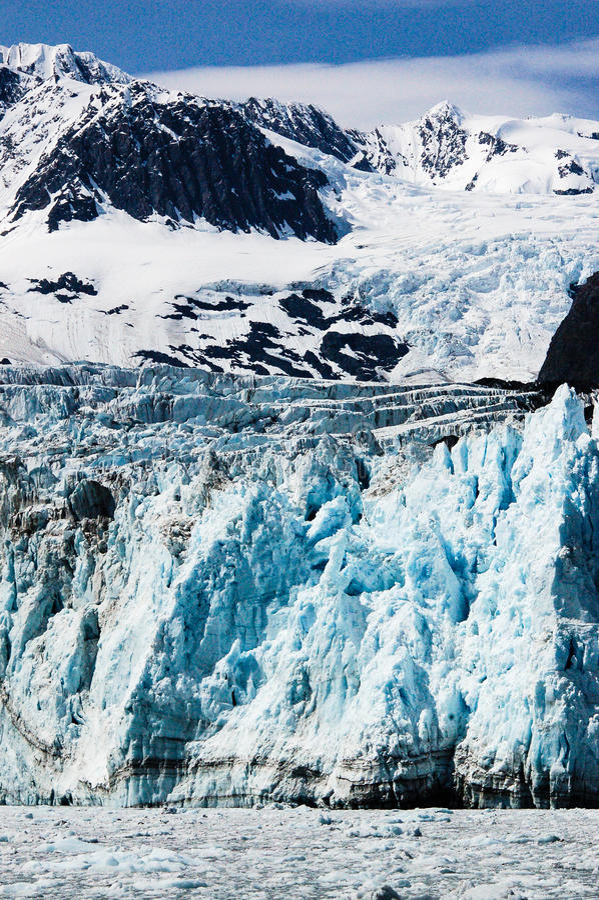 Удивите ледник на фьорде Harriman в Prince William Sound, увы стоковые изображения rf