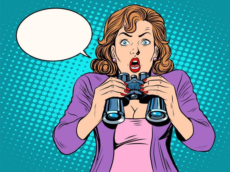 удивленная девушка биноклей иллюстрация штока
