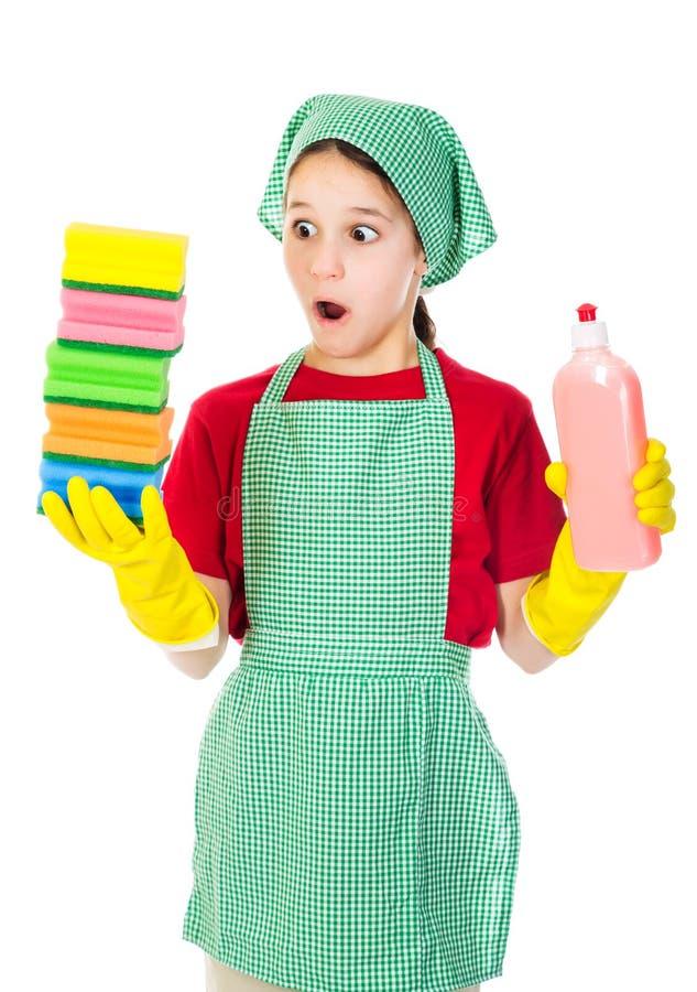 Удивленная девушка с красочными губками стоковое фото rf