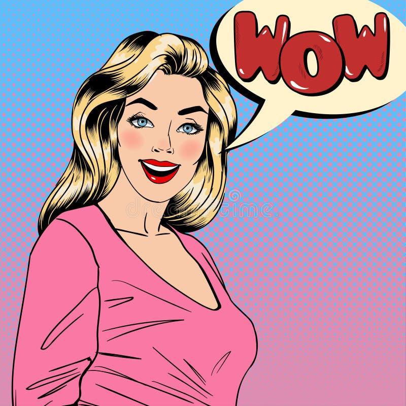 удивленная женщина девушка счастливая штырь девушки вверх Довольно белокуро иллюстрация вектора