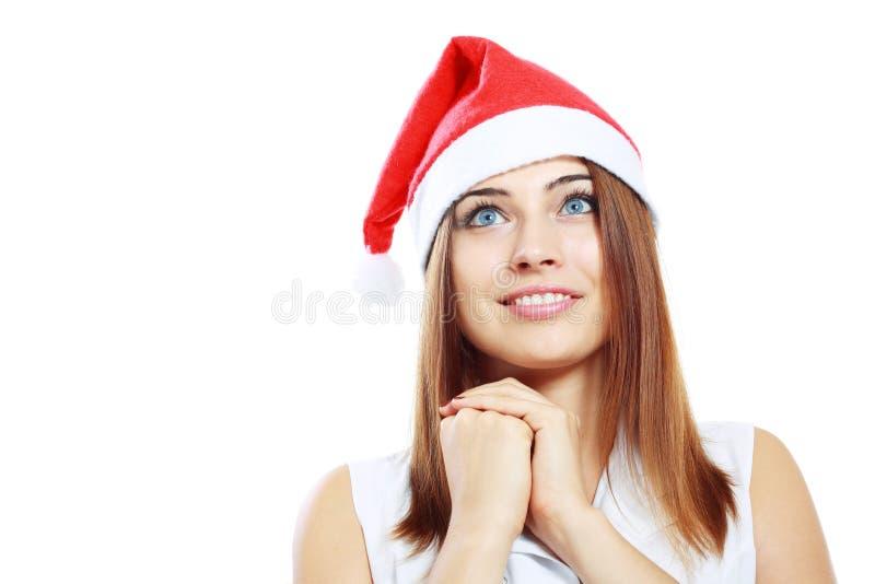 Удивленная женщина рождества стоковое фото rf