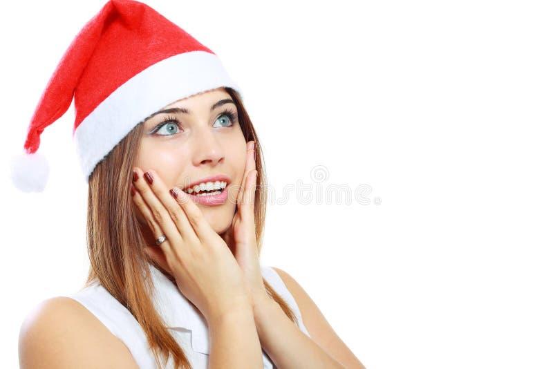 Удивленная женщина рождества стоковое изображение