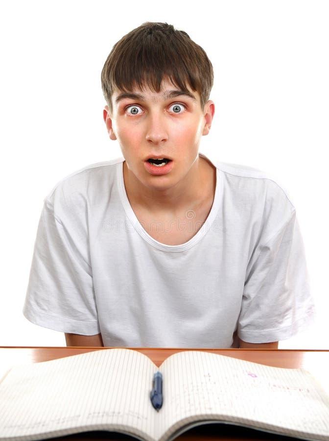 Удивленный и сотрясенный студент стоковая фотография rf