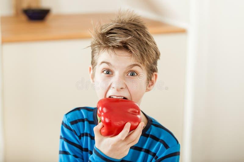 Удивленный молодой мальчик сдерживая в красный болгарский перец стоковые фото