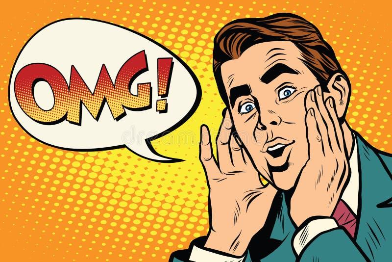 Удивленный OMG эмоциональный бизнесмен искусства шипучки ретро бесплатная иллюстрация