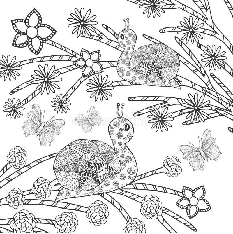 Улитки и butterflys в цветочном саде фантазии бесплатная иллюстрация