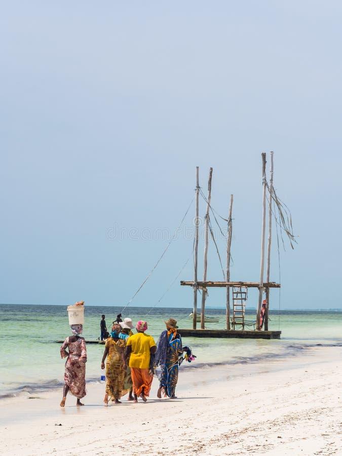 Удить местных женщин идя на пляже в Занзибаре, Танзании стоковые фото