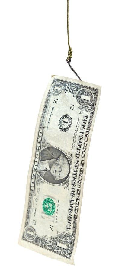 Удить с банкнотой 1 доллара завлекает на рыболовном крючке стоковое фото