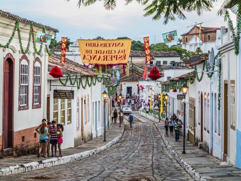 Улица булыжника в месте всемирного наследия ЮНЕСКО Goias стоковые фотографии rf