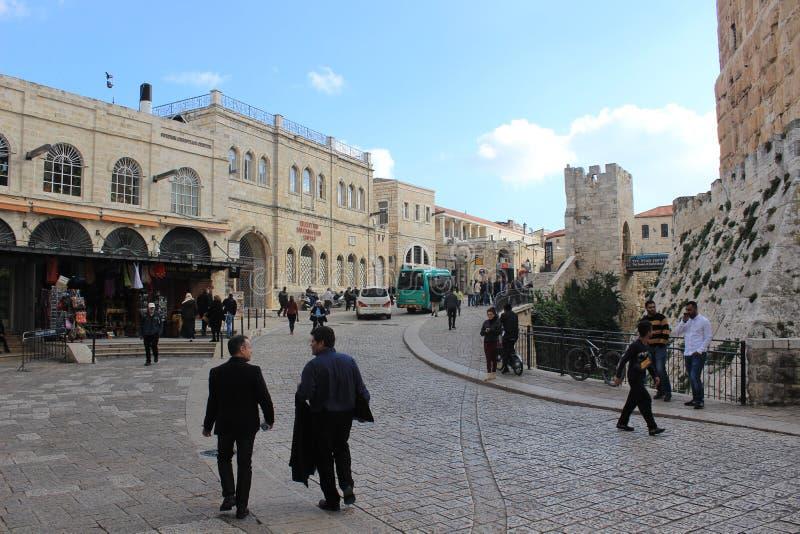 Улица в городке Иерусалима старом стоковые фотографии rf