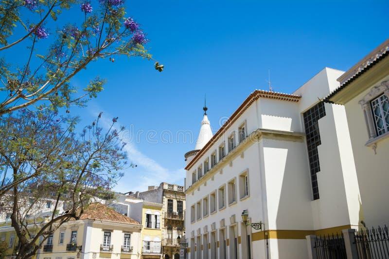 Улица в историческом центре Faro Португалии стоковое фото