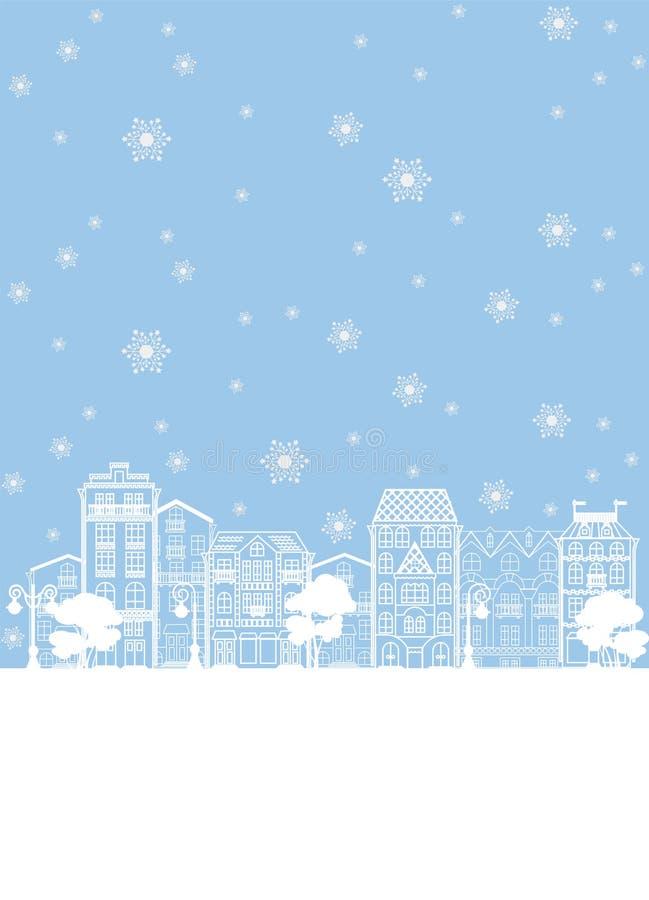 Улица в иллюстрации рождества зимы иллюстрация штока