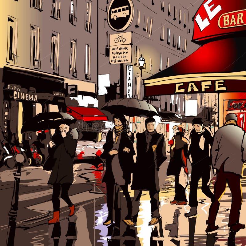 Улица в Париже на ноче бесплатная иллюстрация