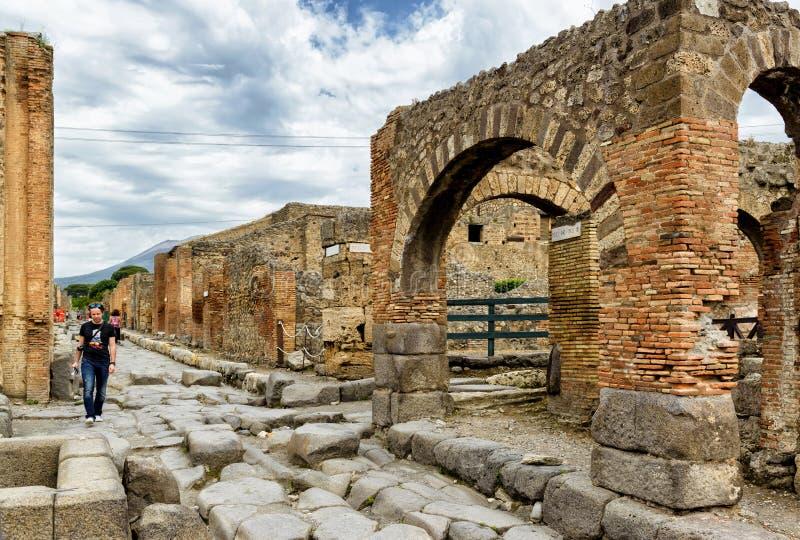 Улица в Помпеи, Италии стоковые фото