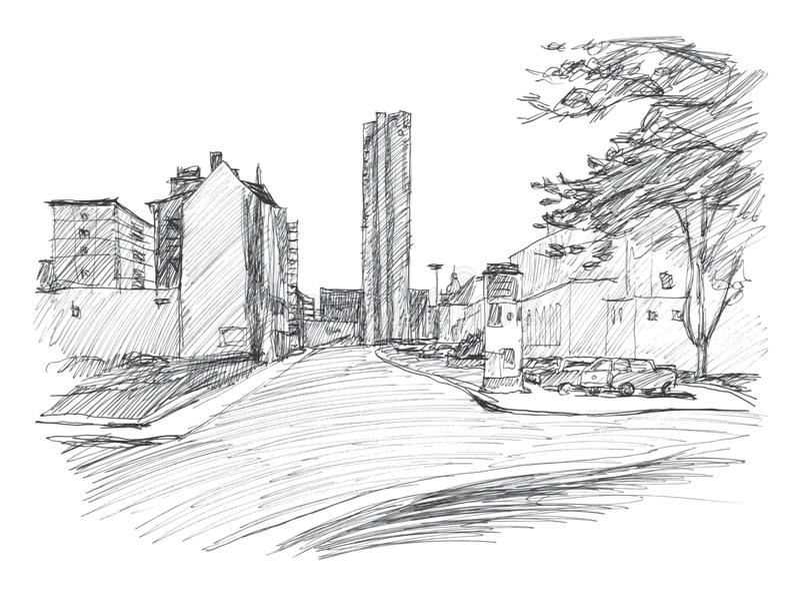 Улица в Хемнице Карл-Marx-Stadt Нарисованный вручную эскиз линейно стоковое фото rf