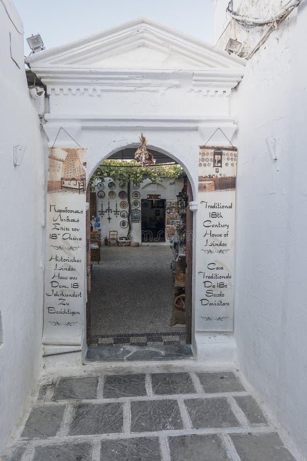 Улица в Lindos стоковые изображения