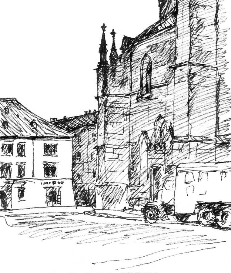 Улица в Pilsen Нарисованный вручную эскиз стоковое изображение rf