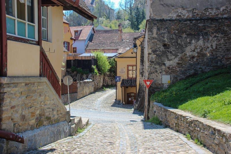 Улица в Sighisoara стоковая фотография rf