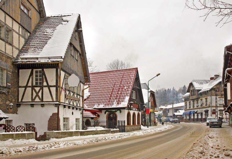 Улица в Szklarska Poreba Польша стоковая фотография