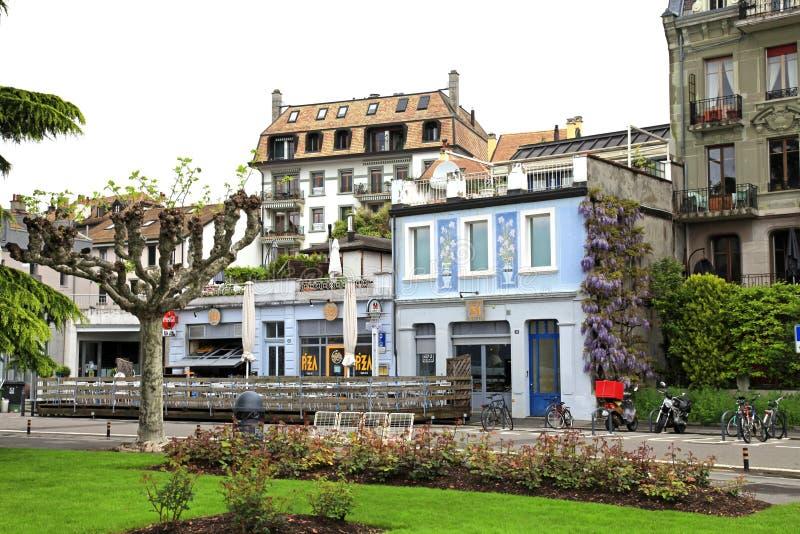 Улица в Vevey, Швейцарии стоковые изображения rf