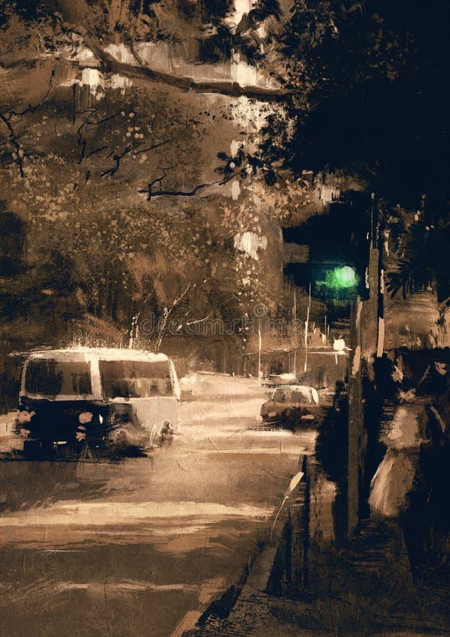 Улица города в винтажном цвете с акцентом на светофоре на зеленом цвете иллюстрация штока