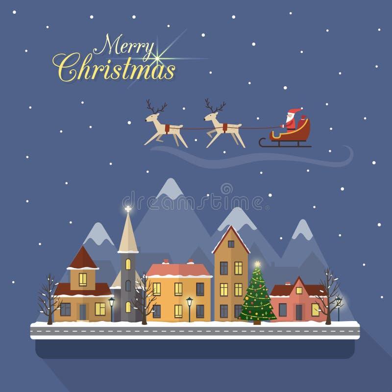 Улица города зимы рождества с Сантой иллюстрация штока