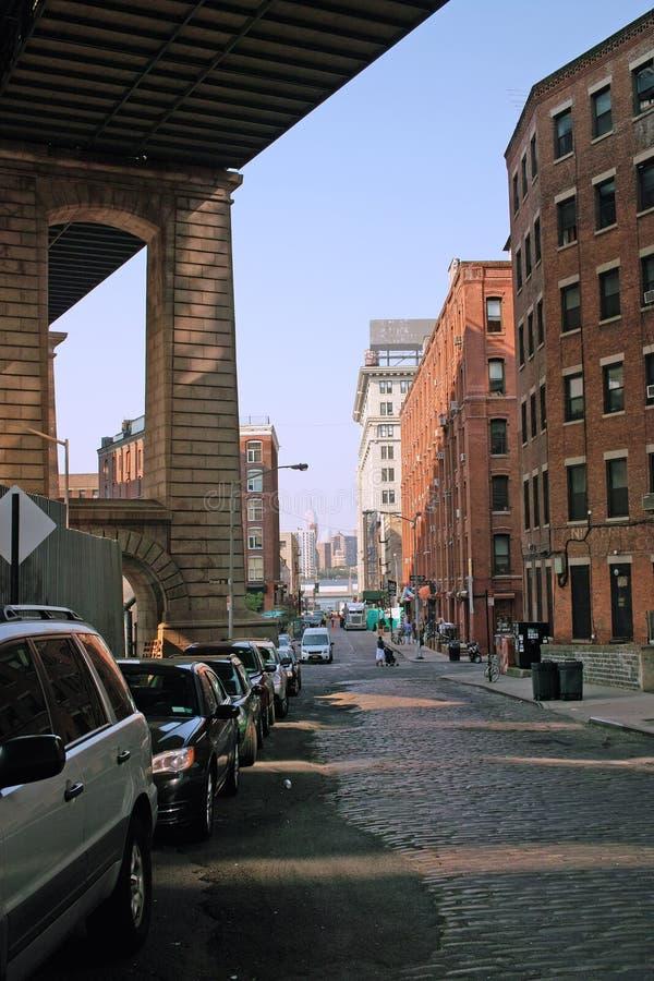 Улица жемчуга, DUMBO, Бруклин, NYC. стоковое фото rf