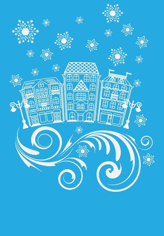 Улица зимы иллюстрация вектора