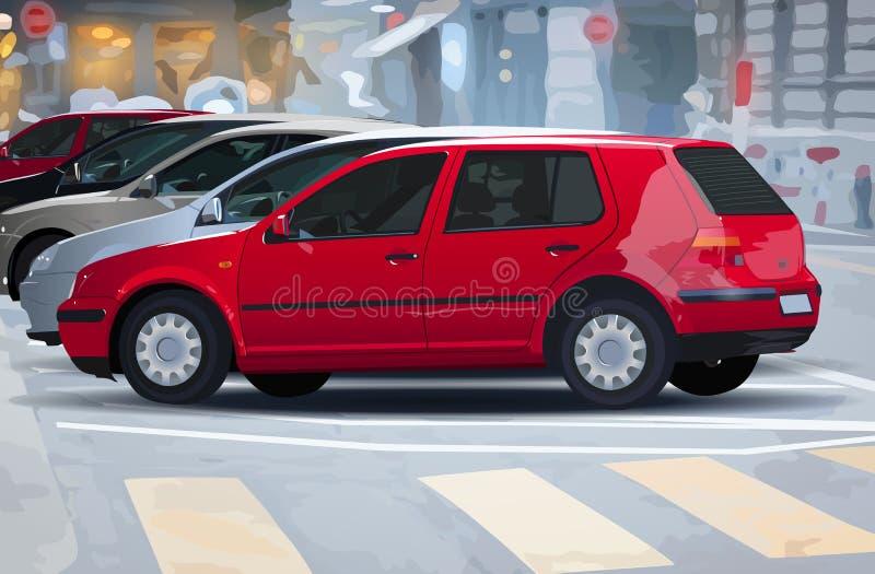 улица красного цвета фокуса города автомобилей автомобиля бесплатная иллюстрация