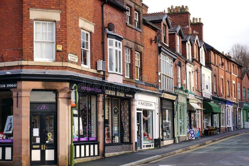 Улица магазинов в лук-порее, Стаффордшире, Англии стоковые изображения rf