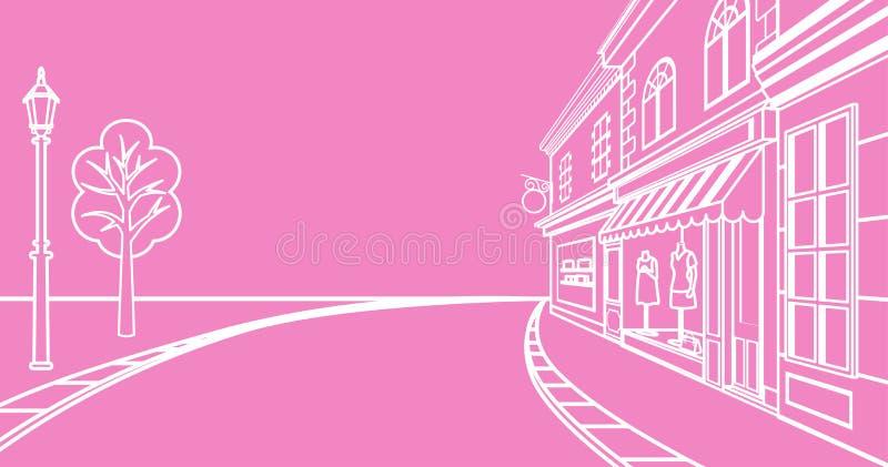 Улица маленького города, линейная иллюстрация вектора