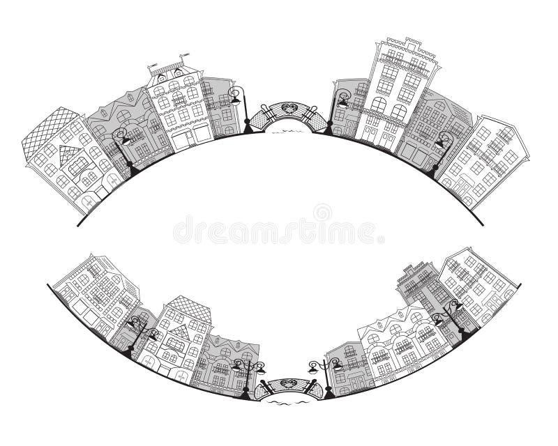 Улица маленького города иллюстрация вектора