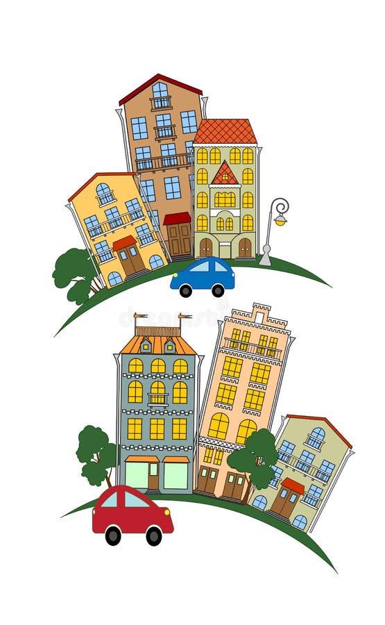 Улица маленького города бесплатная иллюстрация