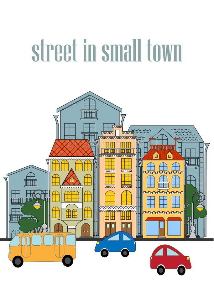 Улица маленького города иллюстрация штока