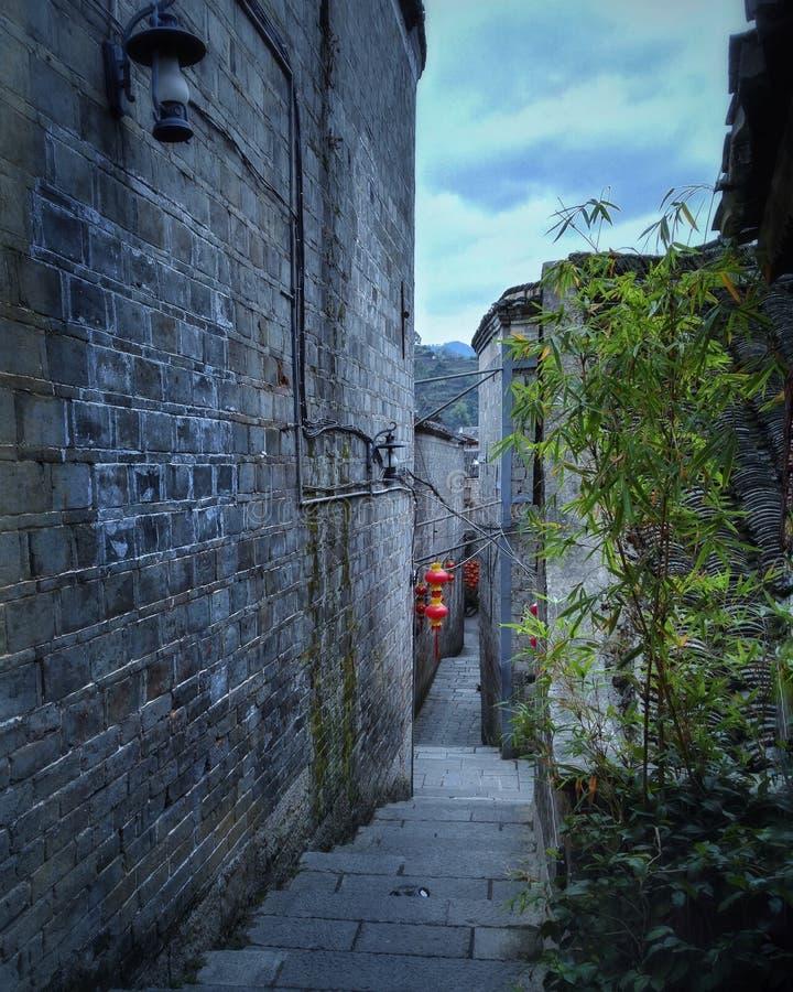 улица переулка в старом городке 2 стоковая фотография