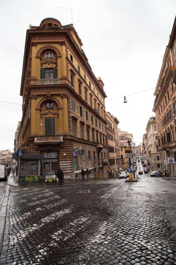 Улица Рима на дождливый день стоковое фото rf