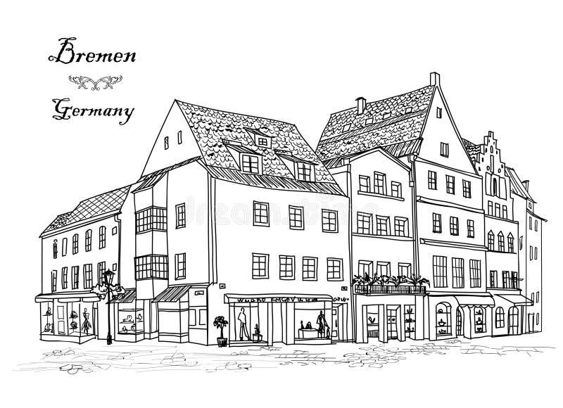Улица с старыми зданиями и кафе в старом городе Старый взгляд города бесплатная иллюстрация