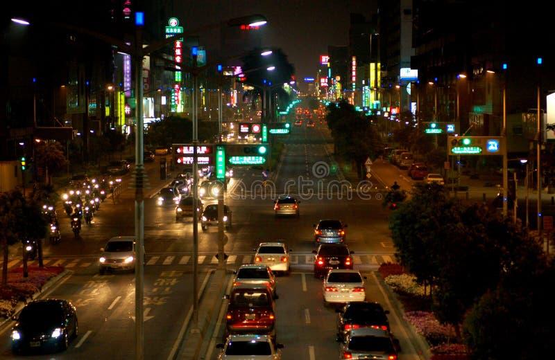 Улица Тайваня на nighttime стоковое фото