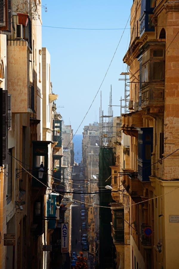Улица центра города, Валлетта стоковая фотография rf