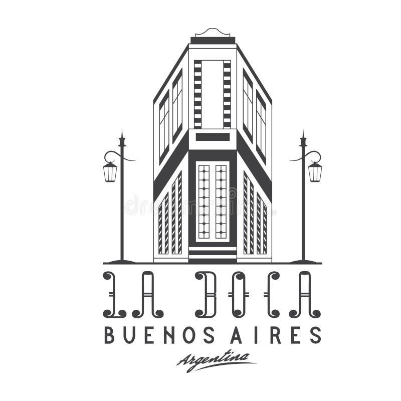 улица Caminito иллюстрации в районе Boca Ла b иллюстрация вектора