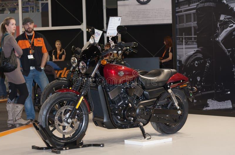 Улица 750 Harley Davidson мотоцикла на международной ярмарке для стоковое фото